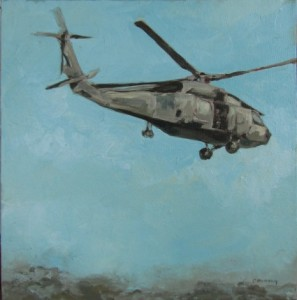 """Painted on site, Port au Prince, Haiti A SH-60F Seahawk assigned to the """"Dusty Dogs"""" of Helicopter Anti-submarine Squadron 7, takes off from Port au Prince for the outlying areas, delivering water and supplies. HS7 is part of Carrier Air Wing 17.  Private Collection"""