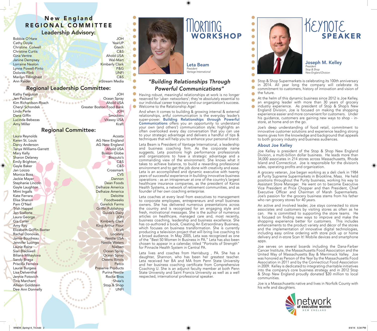 Network of Executive Women Spring Brochure (interior)